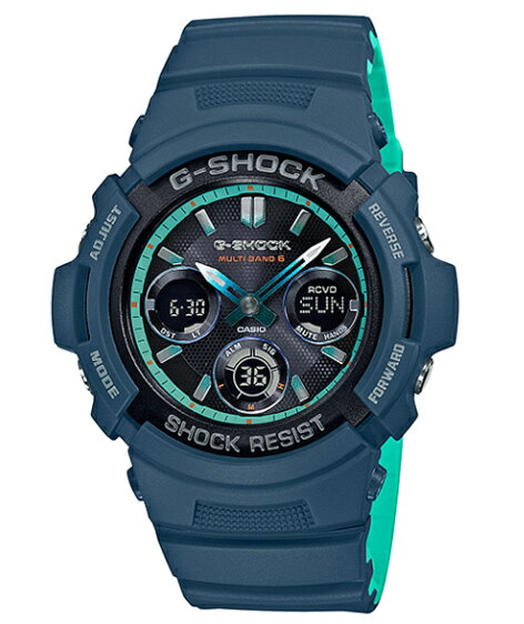 G-SHOCK Gショック ジーショック カシオ CASIO アナデジ 腕時計 電波 ネイビー ターコイズブルー AWG-M100SCC-2AJF【国内正規モデル】【あす楽】