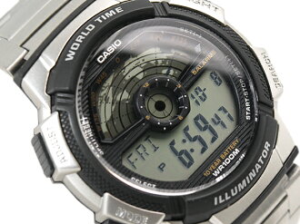 CASIO WORLD TRAVELER Casio world traveler digital watch imports overseas model silver black AE-1100WD-1A AE-1100WD-1A
