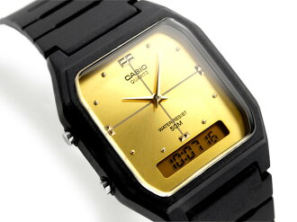 + An analog-digital Unisex Watch Gold Dial-urethane belt AW-48HE-9AV