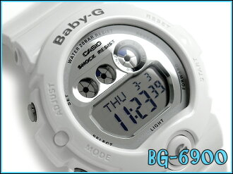 + Casio baby G overseas imports models ladies digital watch metallic silver dial white BG-6900-7DR