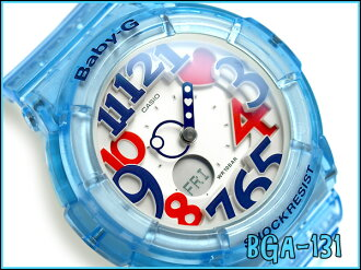 + Casio baby G ladies an analog-digital watch Jelly Marine Series Blue skeleton BGA-131-2BJF