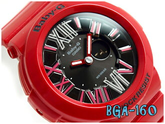 + Casio baby G overseas imports model neon dial series an analog-digital watch red x black BGA-160-4BDR