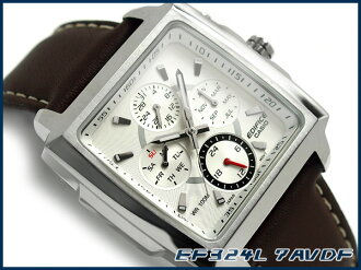 + Casio Japan not released overseas model edifice analog Multifunction mens watch square case White Dial leather belt EF-324L-7AVDF