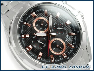 + Casio overseas model edifice analog Multifunction mens watch black / rose gold stainless steel belt EF-328D-1 A5VDF