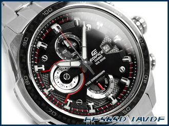 Casio overseas model edifice analog chronograph mens watch carbon dial black stainless steel belt EF-565D-1AVDF