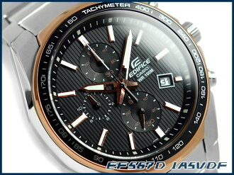 + Casio overseas model edifice analog chronograph men's Watch Black / Rose Gold stainless steel belt EF-567D-1 A5VDF
