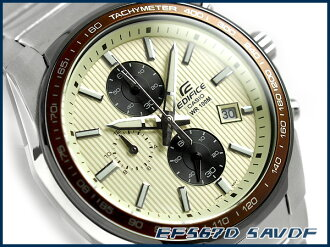 Casio overseas model edifice analog chronograph men's watch ブラウンベゼル white yellow / black stainless steel belt EF-567D-5AVDF