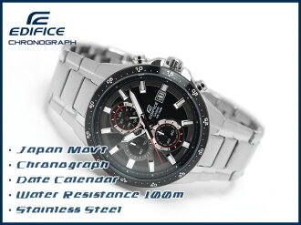 + Casio Japan not released overseas model edifice analog chronograph men's watch black dial stainless steel belt EFR-519D-1AVDF