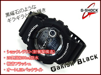 Reimport foreign model Casio G shock digital mens watch garish black GD-100BW-1DR