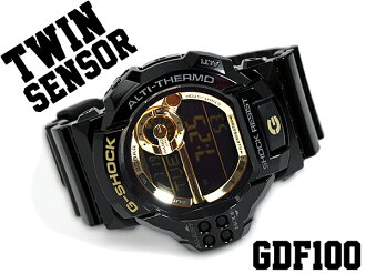 G shock 6600 g-shock CASIO Casio twin sensor with digital Watch Gold black GDF-100GB-1DR GDF-100GB-1