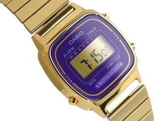 + CASIO Casio standard model digital ladies watch imports overseas model purple gold LA-670WGA-6DF