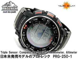 + Casio overseas model protrek triple sensor with solar digital watch black PRG-250-1DR