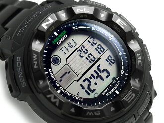 + Casio overseas model protrek triple sensor with solar digital watch black stainless steel belt PRG-250BD-1DR
