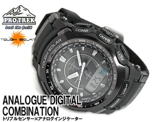 CASIO PRO TREK Casio protrek triple sensor with solar an analog-digital watch black PRG-510-1DR