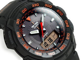 Casio overseas model protrek triple sensor with solar an analog-digital watch black / orange polyurethane belt PRG-550-1 A4DR