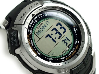 Overseas model Casio protrek radio tough solar triple sensor with digital Watch Silver / Black Silver urethane belt PRW-1300-1VE