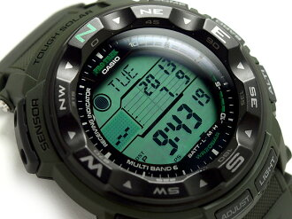 + Casio overseas model protrek triple sensor with solar radio digital watch Army Green Camo pattern cross belt PRW-2500B-3DR
