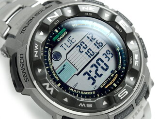 Casio overseas model protrek triple sensor equipped with radio solar Digital Watch Silver Titan belt PRW-2500T-7DR