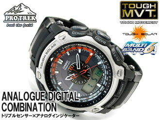 Casio foreign countries model proto Lec triple sensor electric wave ソーラーアナデジ watch urethane belt PRW-5000-1 PRW-5000-1ER fs3gm