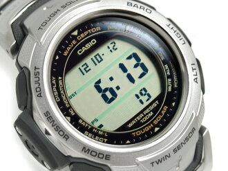 Digital watch silver X black silver titanium belt PRW-500T-7VER fs3gm mounted with a Casio foreign countries model proto Lec electric wave tough solar twin sensor