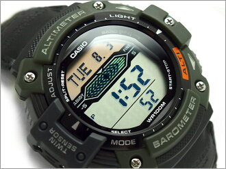 + Imports overseas model SPORTS GEAR sports gear twin sensor powered mens digital watch military green nylon belt SGW-300HB-3AVDR