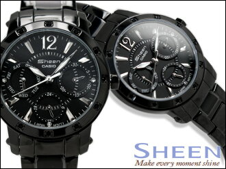 CASIO sheen Casio scene Lady's multi-function watch All Blacks tenless belt SHN-3012BD-1A SHN-3012BD-1ADR