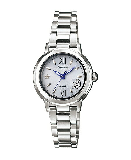 CASIO SHEEN] CASIO scene ladies watch radio solar white silver SHW-1500D-7AJF
