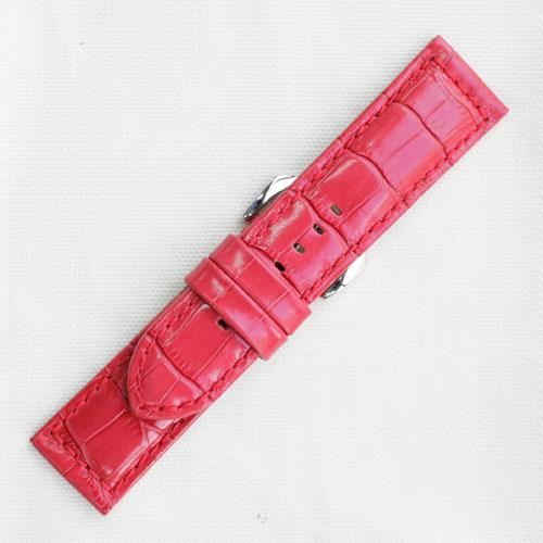 XDK011r【松重オリジナル】型押し肉厚ベルト・超厚手- 色:赤色 / 厚さ:約 5mm / サイズ:21-18mm,22-20mm,24-22mm,26-24mm