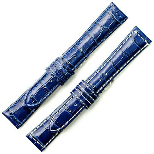 YK311d18【牛革型押し - 18mm・肉厚】 - 色:ブルー / サイズ:18-16mm