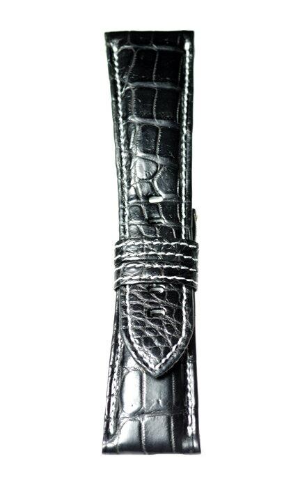 MSW112aw28 松重のお薦め品【東京職人本格手作り- 厳選マットクロコ 白糸ステッチ  超肉厚6mm 使用感満点!】 - 色:黒 / ベルト幅:28mm 個性的で魅力的な時計を演出する、本格手作り革ベルト【松重オリジナル - 厳選こだわり】