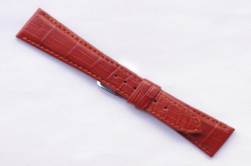 W311k 24【本格手作り時計ベルト -最高級 マットクロ 無双 】 - 色:金茶 / ベルト幅:24-16mm 個性的で魅力的な時計を演出する、本格手作り革ベルト【松重オリジナル - 厳選こだわり】