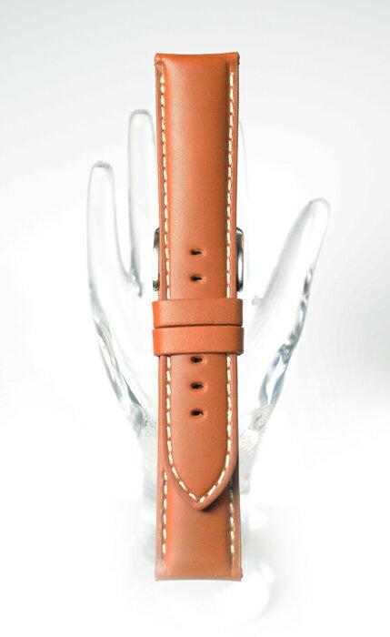 【新商品 カーフ(牛革) - 厚手硬め仕上げ】XDC002cw 色:茶・白糸ステッチ/厚さ:約5-3mm - サイズ:20-18mm,22-20mm,24-22mm