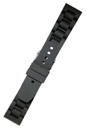 MBG016a【シリコンラバー - 厚手・ワイド】- 色:黒 | ベルト幅:22,24,26mm- 厚さ:約6-4mm