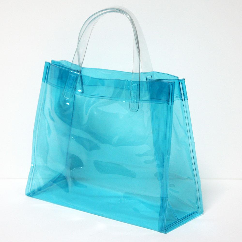 【メール便OK】【透明バッグ】 抗菌 ビニールバッグ SSサイズ ブルー【日本製】※メール便は1注文につき1個のみOK!プールバッグ ビーチバッグ 温泉バッグ トートバッグ 社内バッグ クリアバッグ【RCP】