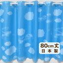 【メール便OK】抗菌 防水 カフェカーテン 雲柄 サニーデー Lサイズ 80cm丈 防カビ素材