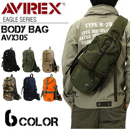 <strong>ボディバッグ</strong> メンズ レディース 男女兼用 送料無料 AVIREX キャンバス ワンショルダーバッグ 通勤 通学 アウトドア 斜めがけバッグ ミリタリー 人気 ボディーバッグ ボディバック プレゼント 黒 鞄 AVX305