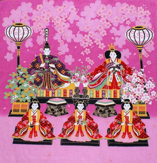 【 風呂敷 】 ひな祭り ひな桜 ピンク 赤 レーヨン 二巾(約68cm巾) ちりめん...:wazakka-yufuka:10000186