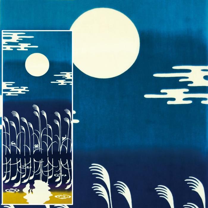【 手ぬぐい てぬぐい 】 月見 うさぎ 水面月見 気音間 kenema [ ウサギ 兎 …...:wazakka-yufuka:10000134