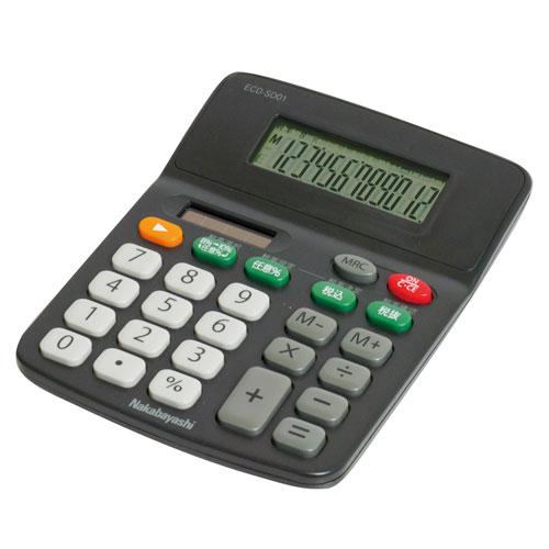 ナカバヤシ デスクトップ電卓 12桁 スタンダード S ブラック ECD-SD01BK