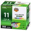 オーム電機 ブラザー LC11-4PK対応 互換インクカートリッジ 4色パック INK-B11B-4P