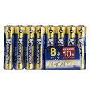 オーム電機 単4形 Vアルカリ乾電池UPPER 10年保存可能 ハイパワー 8本入 LR03/S8P/U