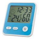エンペックス EMPEX 時計付 温湿度計 デジタルMini アクアブルー TD-8326