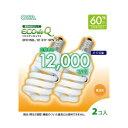 オーム電機 電球形蛍光灯 スパイラル形 口金E17 60W形相当 電球色 2個入 EFD15EL/12E17SPN2