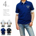 ポロシャツ メンズ 半袖 カノコポロ 5分袖Tシャツ レイヤード 重ね着 2枚セット ミリタリーAタイプ フロッキープリント かすれプリント