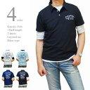 ポロシャツ メンズ 半袖 カノコポロ 5分袖Tシャツ レイヤード 重ね着 2枚セット 刺繍 バイカータイプ フロッキープリント かすれプリント