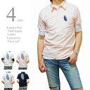ポロシャツ メンズ 半袖 カノコポロ 5分袖Tシャツ レイヤード 重ね着 2枚セット 刺繍 リーフプリントタイプ バックプリント かすれプリント