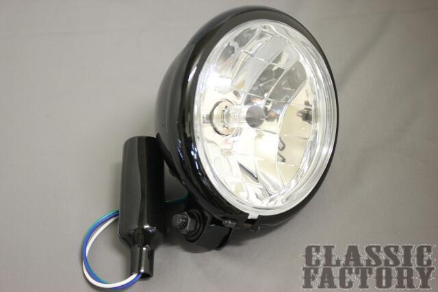【在庫あり】CLASSIC FACTORY クラシックファクトリー ヘッドライト本体・ライトリム/ケース 5.5インチ ベーツライト マルチ/ブラック