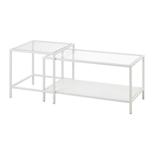 【期間限定】【IKEA/イケア/通販】 VITTSJÖ ネストテーブル2点セット, ホワイト, ガラス(d)(60303443)