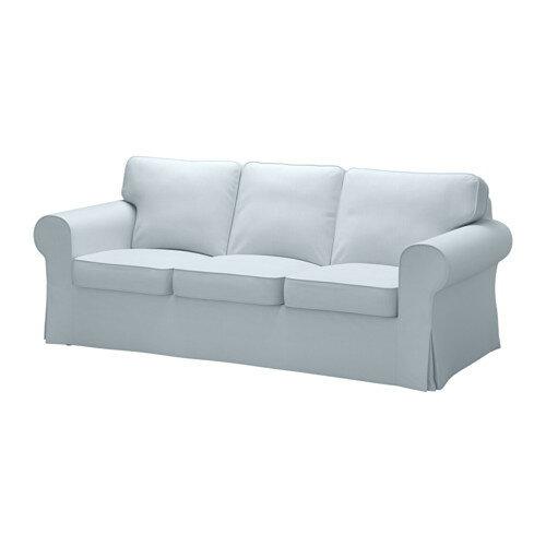 【IKEA/イケア/通販】 EKTORP エークトルプ 3人掛け用ソファカバー(b)(※本体は付属しません。カバーのみの商品です), ノールドヴァッラ ライトブルー(20317767)
