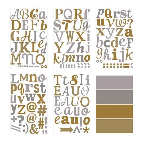 【IKEA/イケア/通販】 KLÄTTA クレッタ デコレーションステッカー, メタリック文字, ゴールド/シルバー カラー(f)(10311153)の写真